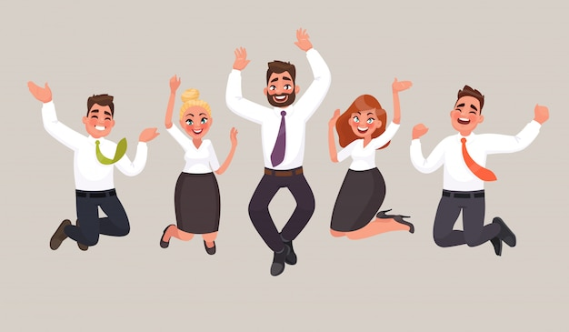 ビジネスの人々はジャンプして、勝利の達成を祝います。幸せなオフィスワーカー