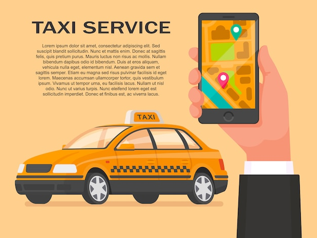 タクシーサービステンプレート。スマートフォンのアプリケーションからタクシーを注文する