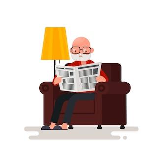 Дедушка читает газету, сидя в кресле иллюстрации