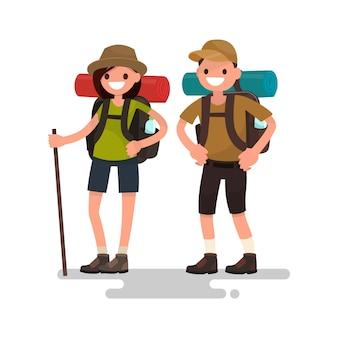Походы туристов. молодая семейная пара иллюстрация