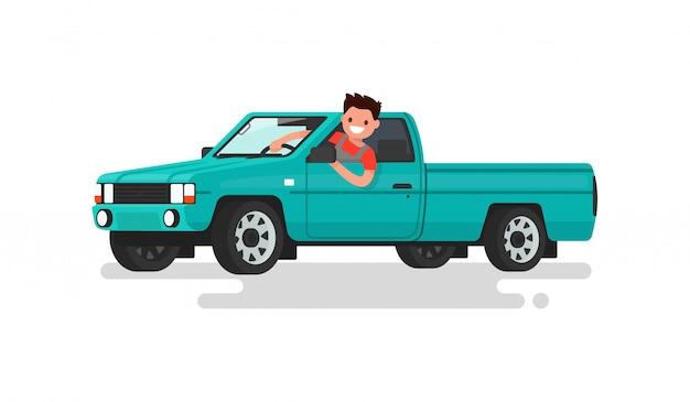 Улыбающийся человек за рулем пикапа иллюстрации