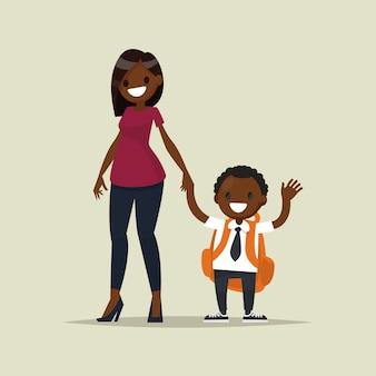 彼女の子供の少年とアフリカ系アメリカ人の母。