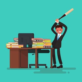 Крайний срок. злой рабочий ломает стол, заваленный документами.
