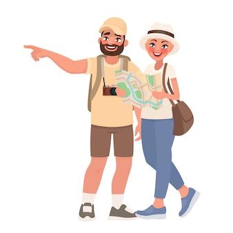 Пара туристов осматривают достопримечательности. путешествие в новые страны. люди и туризм