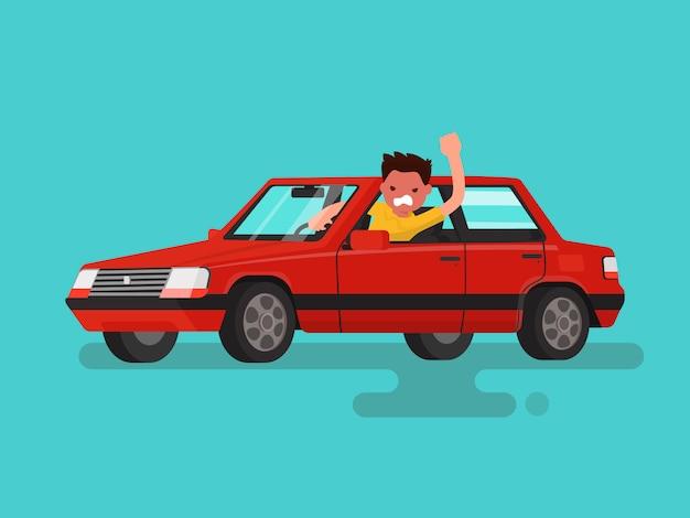 渋滞。怒っている人は車の中で誓います。