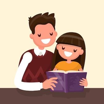 Отец читает книгу своей дочери. иллюстрация