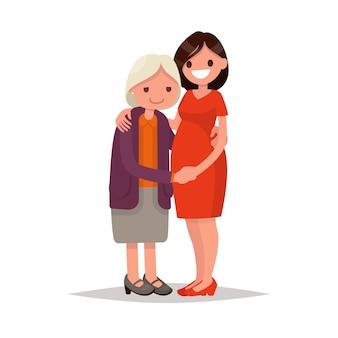 高齢の母と大人の娘が一緒に。フラットなデザインのイラスト