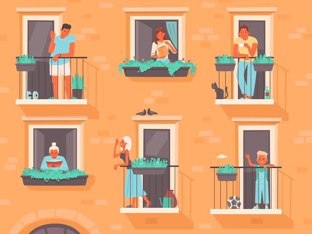 Концепция соседства. люди стоят на балконах или выглядывают из окон. соседи многоквартирного дома