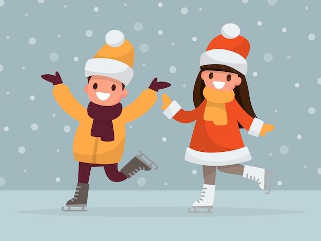 Мальчик и девочка катаются на коньках.