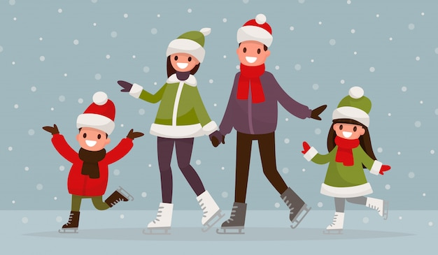 Семья на коньках на открытом воздухе.