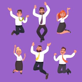 ジャンプ幸せなビジネス人々のセット。オフィスワーカーは勝利を祝う