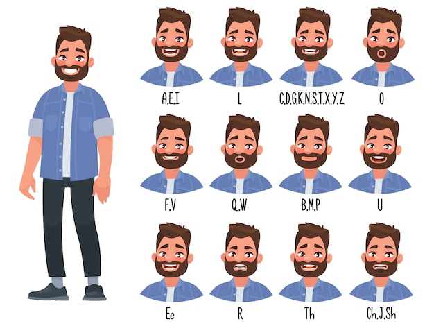 話しているキャラクターのアニメーションの単語を発音するときの唇の位置のセット