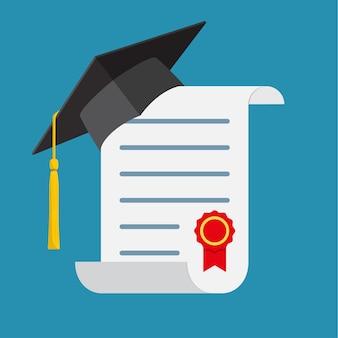 卒業帽と卒業証書。