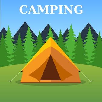 Туристическая палатка на лесной пейзаж