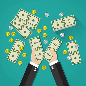 Бизнесмен подсчитывает наличные деньги