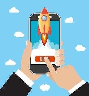 手は打ち上げロケットでスマートフォンを保持しています。