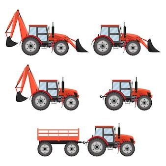 トラクター、掘削機、ブルドーザーセット。