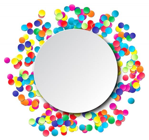 Красочный праздник круг кадр с конфетти.