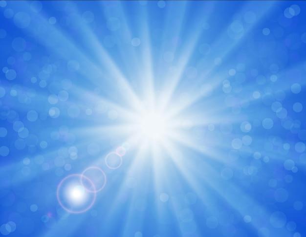 青い空の上の光沢のある太陽のベクトルの背景