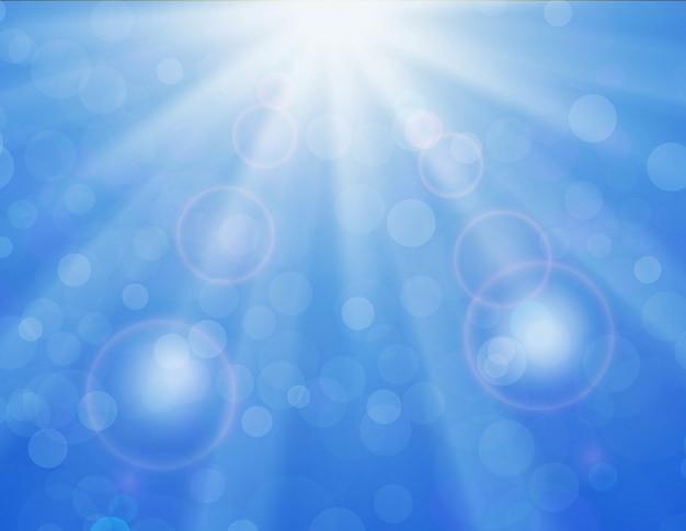 Векторный фон с блестящим солнцем над голубым небом