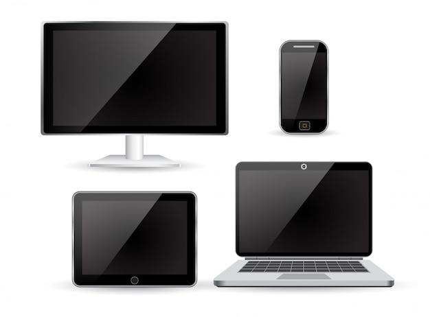 現実的なモニターのラップトップのタブレットと電話を設定する