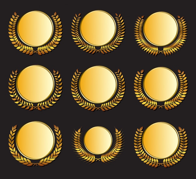 Вектор золотая медаль и лавры