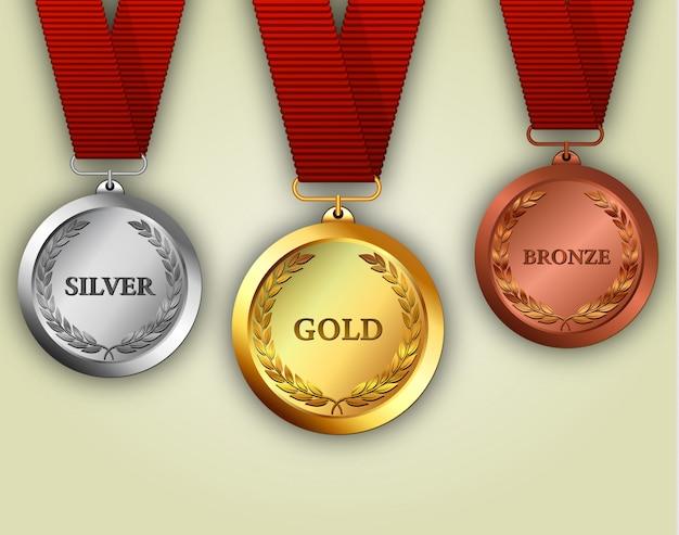 Набор золотых, серебряных и бронзовых медалей