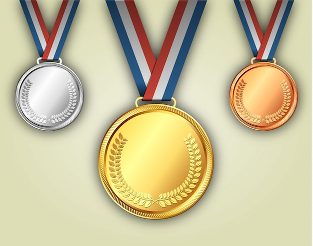 Золотые серебряные и бронзовые медали на лентах