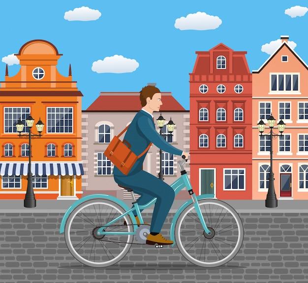自転車に乗るビジネスマン。