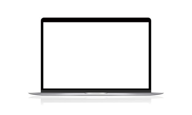 空白の画面を持つ現実的なノートパソコンのイラスト