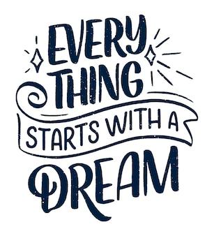 Вдохновляющие цитаты о мечте. ручной обращается старинные иллюстрации с элементами надписи и украшения.