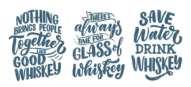 Набор с надписями цитаты о виски в винтажном стиле.