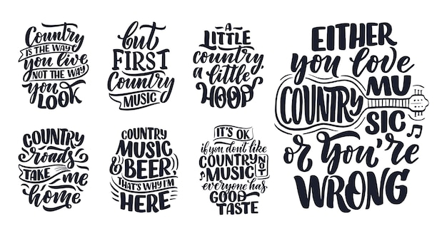 Установить с кантри-музыки надписи цитаты