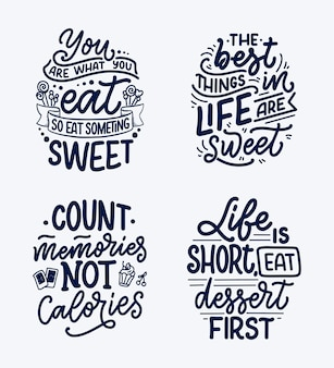 Набор с забавными высказываниями, вдохновляющие цитаты для кафе или пекарня печати.