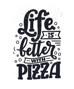 ピザについて手描きの見積もり。文字体裁のメニューデザイン。