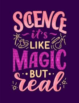 Эскиз баннера с забавным слоганом для концепции о науке.