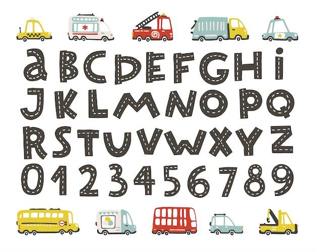 Трек дорожный алфавит, цифры. детские городские машины установлены. смешной смешной транспорт. векторные иллюстрации мультфильмов в рисованной скандинавском стиле