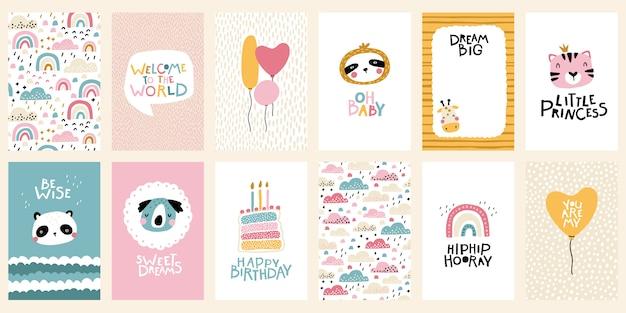 熱帯の誕生日カードコレクション。レタリングが付いている動物のかわいい顔。スカンジナビア風の保育園の幼稚なプリント。パステルカラーのベクトル漫画イラスト