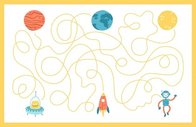 宇宙教育用迷路パズルゲーム。ゲーム、本の印刷、アプリ、教育に適しています。あなたの惑星に戻るのを手伝ってください。白い背景の上の面白いシンプルな漫画イラスト
