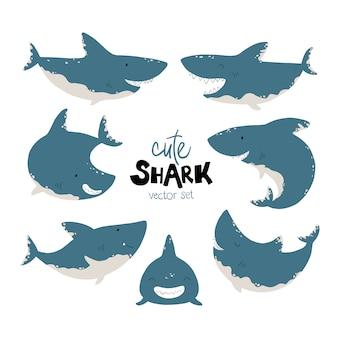 サメセット。シンプルな漫画のスカンジナビアスタイルの面白い魚のイラスト。さまざまなポーズ、感情のキャラクター。限定カラーパレットは印刷に最適です