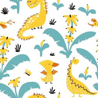 バナナのヤシの木のシームレスなパターンの恐竜。漫画のスカンジナビアスタイルのイラスト。子供っぽい