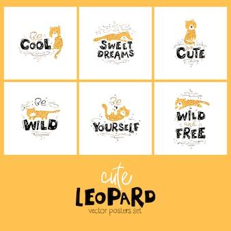 Леопардов надписи набор карт.