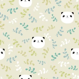 パンダの頭と葉を持つシームレスな幼稚なパターン。