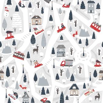 Рождественская карта города бесшовный фон