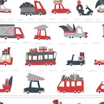 クリスマス車のパターン。スカンジナビアスタイルの休日道路の幼稚なシームレスパターン。