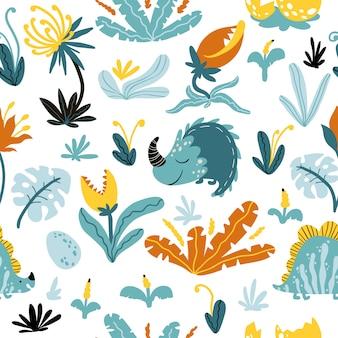 熱帯恐竜のシームレスなパターン。