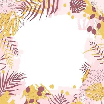 Творческий кадр с абстрактным дизайном. пятна краски и листья тропического монстера и дипсис в розовых и желтых тонах.