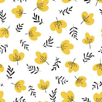 シンプルな漫画の手描きスタイルでミニマルなシームレス花柄。花とハーブのイラスト