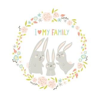 丸い花のフレームのウサギ。手描きのスカンジナビアスタイルのかわいい動物。