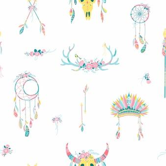 民族のシームレスなパターン。羽を持つネイティブアメリカンのドリームキャッチャー。エスニックなデザイン、自由奔放に生きるシックな手描き、部族のシンボル。